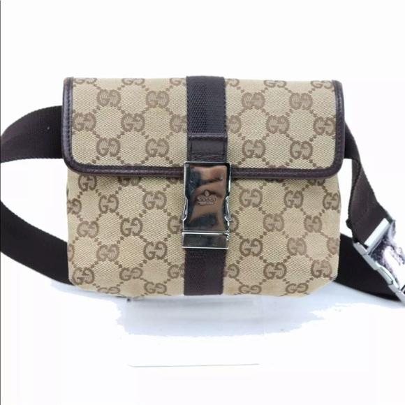 4949b24e74f Gucci Handbags - Authentic Gucci Waist Pouch Fanny Pack Canvas Bag